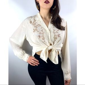 1970s pure silk hand embroidered blouse by VERDER